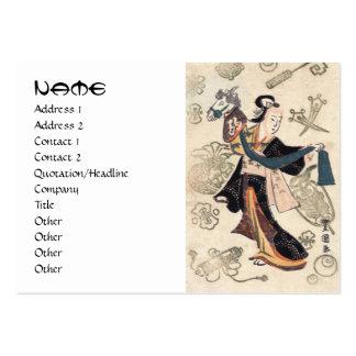 Mujer japonesa y marioneta del ukiyo-e clásico del plantillas de tarjetas de visita