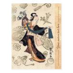 Mujer japonesa y marioneta del ukiyo-e clásico del tarjeta postal