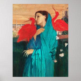 Mujer joven con Ibis de Edgar Degas Posters