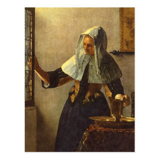 Mujer joven con la jarra del agua - Juan Vermeer Postal
