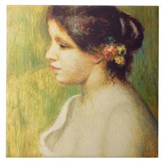Mujer joven con las flores en su oído, 1898 (aceit azulejo cuadrado grande