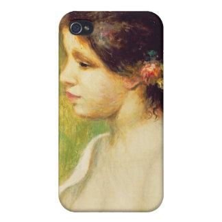 Mujer joven con las flores en su oído, 1898 (aceit iPhone 4 carcasas