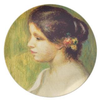 Mujer joven con las flores en su oído, 1898 (aceit plato para fiesta