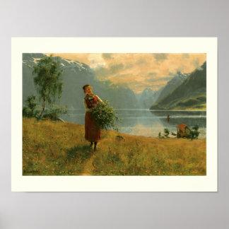 Mujer joven con las ramas del abedul póster