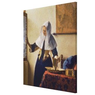 Mujer joven con un jarro de agua, c.1662 impresión en lona estirada