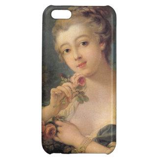 Mujer joven con un ramo de rosas de Francois BO