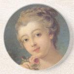Mujer joven con un ramo de rosas posavasos manualidades