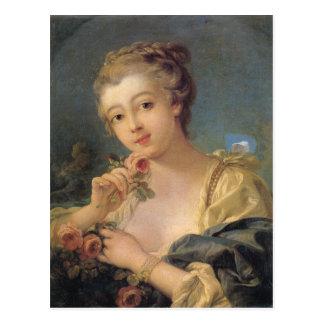 Mujer joven con un ramo de rosas postales