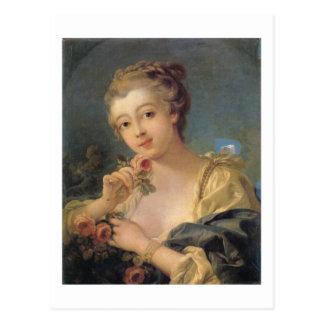 Mujer joven con un ramo de rosas tarjetas postales
