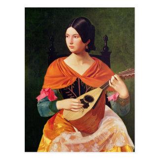 Mujer joven con una mandolina, 1845-47 tarjetas postales