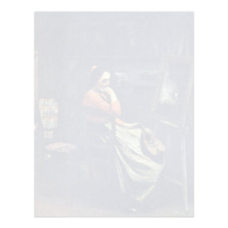 Mujer joven con una mandolina de Corot Plantilla De Membrete