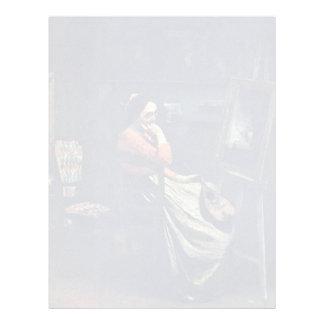 Mujer joven con una mandolina de Corot Plantillas De Membrete