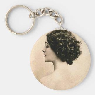Mujer joven de las mujeres del vintage de la fotog llaveros