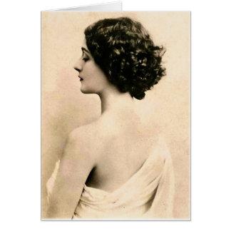 Mujer joven de las mujeres del vintage de la fotog tarjeta de felicitación