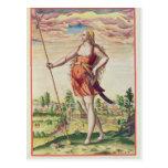 Mujer joven de una tribu vecina a postales
