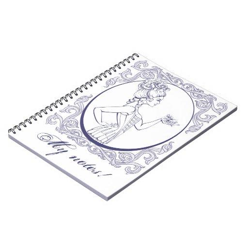 mujer joven del estilo rococó alineada spiral notebooks