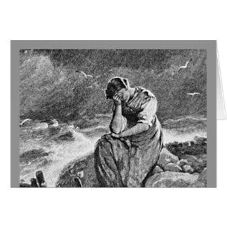 Mujer joven deprimida triste triste tarjeta