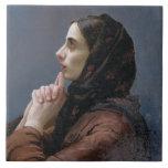 Mujer joven en el rezo, 1879 (aceite en lona) azulejo cuadrado grande
