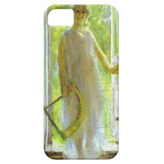 Mujer joven en el umbral de Konstantin Korovin iPhone 5 Case-Mate Carcasas
