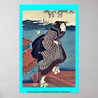 Mujer joven en Sanbashi por Utagawa Kuniyoshi Posters
