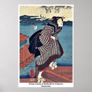 Mujer joven en Sanbashi por Utagawa, Kuniyoshi Póster