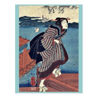 Mujer joven en Sanbashi por Utagawa, Kuniyoshi Postales