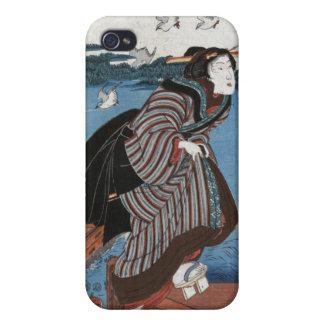 Mujer joven en Sanbashi, Utagawa Kuniyoshi iPhone 4 Carcasas