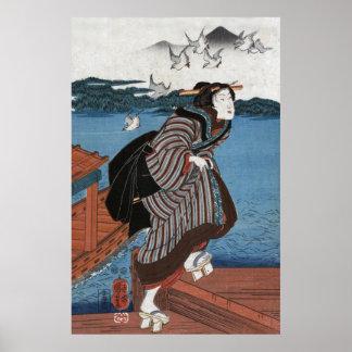Mujer joven en Sanbashi Utagawa Kuniyoshi Poster