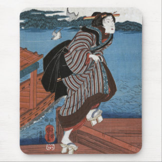 Mujer joven en Sanbashi, Utagawa Kuniyoshi Tapete De Ratón