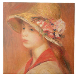 Mujer joven en un gorra (aceite en lona) azulejo cuadrado grande