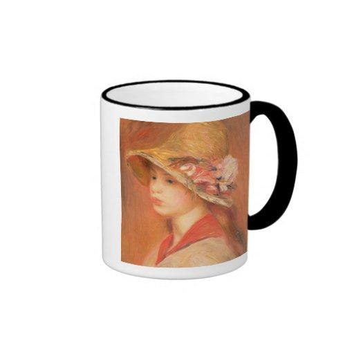 Mujer joven en un gorra (aceite en lona) tazas de café