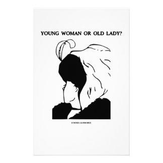 ¿Mujer joven o señora mayor? (Ilusión óptica) Papeleria De Diseño