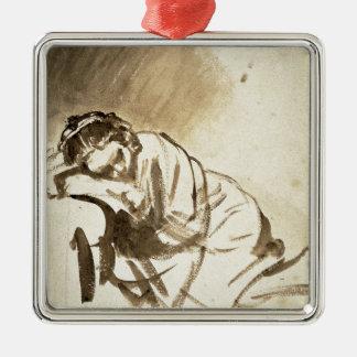Mujer joven que duerme por Rembrandt Van Rijn, Adorno Cuadrado Plateado