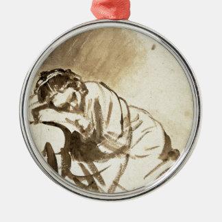 Mujer joven que duerme por Rembrandt Van Rijn, Adorno Redondo Plateado