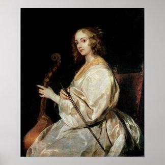 Mujer joven que juega un espicanardo de DA de viol Póster