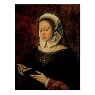Mujer joven que lee un libro de las horas (aceite postales
