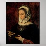 Mujer joven que lee un libro de las horas (aceite  póster