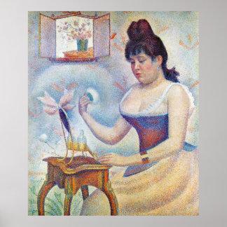Mujer joven que se pulveriza (Seurat) Póster