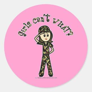 Mujer ligera del ejército etiqueta redonda