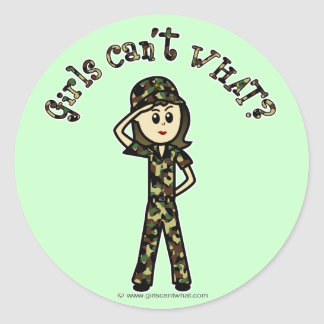 Mujer ligera del ejército pegatina redonda