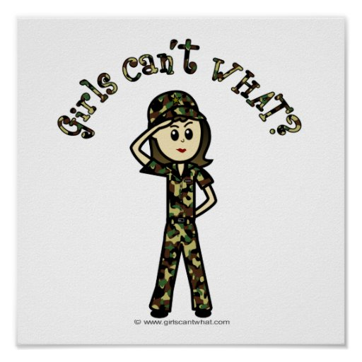 Mujer ligera del ejército póster
