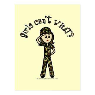 Mujer ligera del ejército tarjeta postal