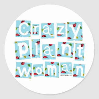 Mujer loca de la planta pegatina redonda