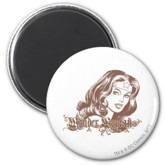 Mujer Maravilla Brown Imán Redondo 5 Cm