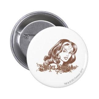 Mujer Maravilla Brown Pin Redondo 5 Cm