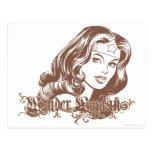 Mujer Maravilla Brown Tarjetas Postales