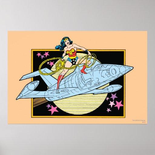Mujer Maravilla con el jet Póster