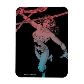Mujer Maravilla con la línea azul roja arte de la Rectangle Magnet