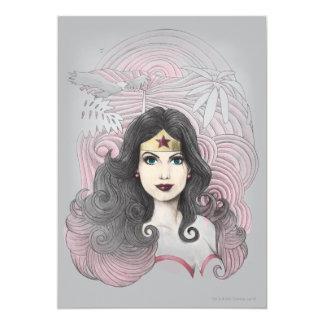 """Mujer Maravilla Eagle y árboles Invitación 5"""" X 7"""""""