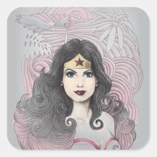 Mujer Maravilla Eagle y árboles Pegatina Cuadrada